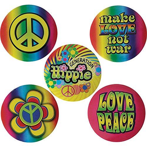 5 verschiedene Flower Power Hippie Anstecker Buttons Love Peace Blumen groß (Zubehör Sechziger)