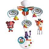 Tiny Love Classic Mobile Movil musical cuna bebé, 3 melodias, luz nocturna, Espirales en blanco y negro para una estimulacion