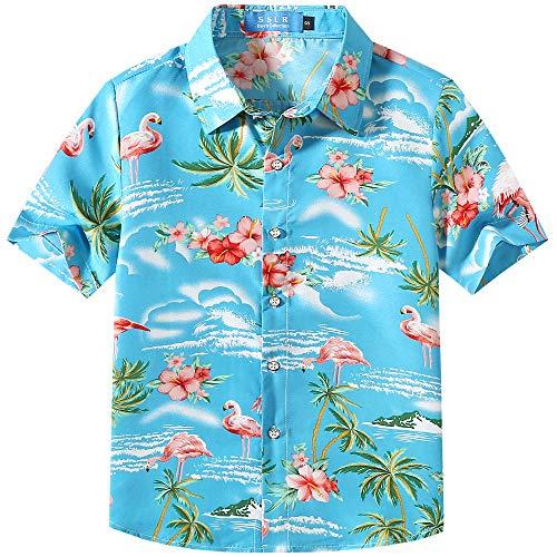 Sslr bambini e ragazzi camicie hawaiana manica corta casual button down stile rosa fenicottero (large (11-13anni), blu)