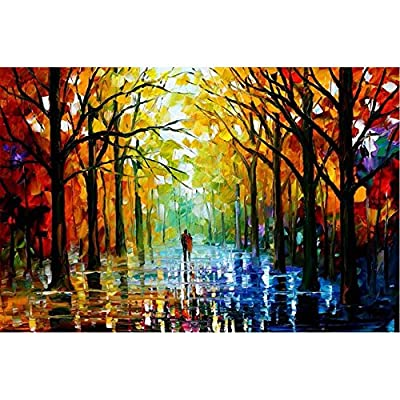 Van Eyck Couple Walking in Tree-lined Paths Colorful Palette Knife Oil Painting of Tree Wall Canvas linen Art Prints Pictures Wall Art for Bedroom Living Room HD-136