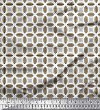 Soimoi Braun Baumwolle Batist Stoff halb~POS=TRUNC geometrisch Stoff drucken Meter 56 Zoll breit