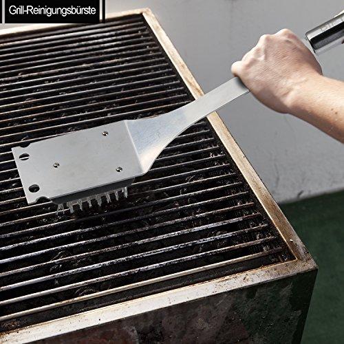 61nqsGEXvGL - 6 in 1 Grillbesteck Koffer + BBQ Thermometer Bify Edelstahl Grillbesteck-Set 6-Teile im Aluminium BBQ Grill Zubehör mit Tragetasche