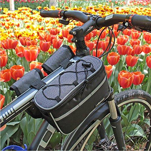 FAN4ZAME Fahrrad Sattel Mountain Road Fahrradverleih Obere Rohr Vorn Strahl Beutel Erhöhte Regendicht Handy Tasche Reiten Ausrüstung gray