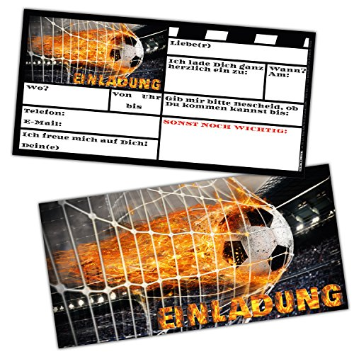 Fußball Einladungskarten Set XL (24 Stück) zum Kindergeburtstag oder Fussball-Party - Einladungen für Jungen Mädchen und Erwachsene von BREITENWERK®