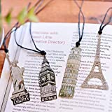 Aisi Vintage Retro kreative Metall 4 Stück Set Lesezeichen Bookmark Paris Eiffelturm, London, New York Pizza dünn Silber
