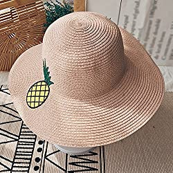 Sombreros HUO Gorra Ms Summer Sun Protection Cap Bordado de piña ala Ancha Sol Plegable Travel Vacation Beach Hat Fresco y seco (Color : Pink)