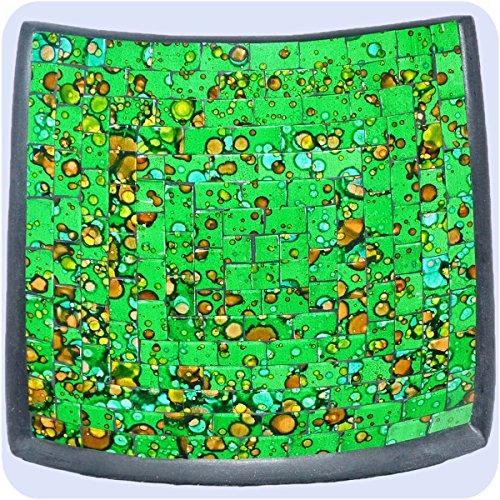 Simandra Mosaikschale Tonschale Glasschale Dekoschale Mosaik Kunsthandwerk Glassteine Deko Quadrat bunt klein Color Grün -