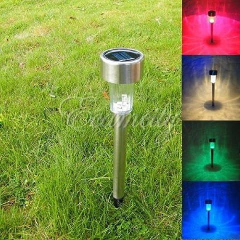 E - 3lue ® 3xoutdoor de jardin à LED Acier inoxydable Énergie solaire pour chemin de jardin Lampe de chantier Paysage (changement de couleur)