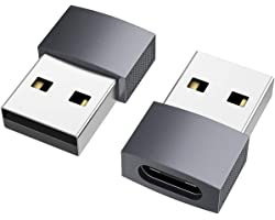 nonda Adaptador USB C a USB (2 Pack), USB-C Hembra a USB Macho, Adaptador de Cable de Cargador Tipo C para iPhone 11 12 Pro M