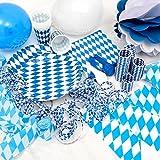 OKTOBERFEST - 65. tlg. Party Set Bavaria für 10 Personen im weiß blauen Rauten Design - Dekoration im bayrischen Stil