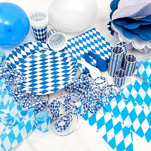 OKTOBERFEST - 86-teiliges Party Set Bavaria für 20 Personen im weiß blauen Rauten Design