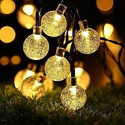 UBEGOOD Guirlande lumineuse solaire, Guirlande lumineuse LED cordes Blanc Chaud Chaine De Lampes Décoration avec 30 Ampoules pour Patio, Café, Jardin, Décoration de Parti