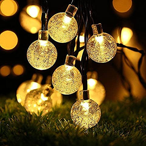 Guirlande lumineuse, Vitutech Guirlande lumineuse solaire 30 LED Boules cristal