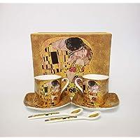 6 tasses à expresso en porcelaine - Motif : « Le Baiser » de Gustav Klimt