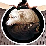 Étnico Yinyang Lobos redondas Toallas de playa con borlas India Mandala Blanco y Negro Wolf Print