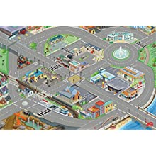 Le Toy Van - Cars & Construction Children's Town City Roads 3D Design Educational Car Playmat For Kids | Medium Sized - 120 x 80 cm