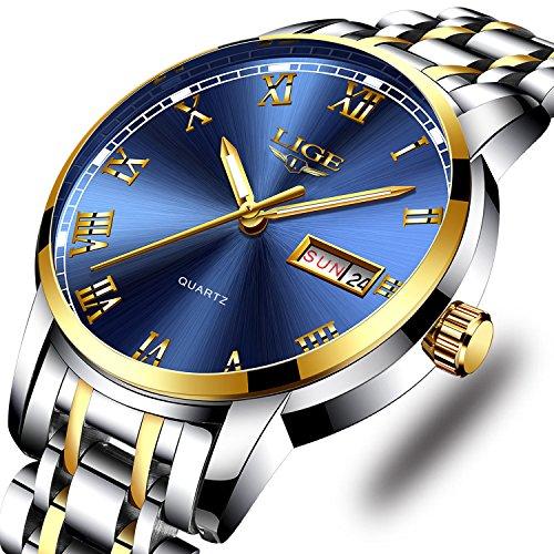 LIGE Uhren Herren Mode Voller Edelstahl Wasserdicht Analoger Quarzuhr Lässig Auto-Kalender Geschäft Kleid Armbanduhr ()