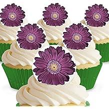Cakeshop 12 X Vorgeschnittene Und Essbare Lila Blumen Kuchen Topper  (Tortenaufleger, Bedruckte Oblaten,