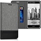 kwmobile Flip Hülle Case für Huawei P10 Lite - Schutzhülle Cover Bookstyle aus Kunstleder und Textil in Grau Schwarz