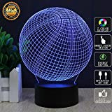 Ragazzi di basket Lampade 3D Illusion 7 colori lampeggianti USB Powered Touch Switch Camera da letto Nightlights per il gioco di basket Mans Collection Regali