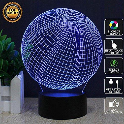 Basketball 3D Optische Illusions-Lampen, FZAI 7 Farben Berührungsschalter Schreibtisch LED Nacht Lichter mit 150cm USB-Kabel zum Kinder Geschenk Haus Dekoration
