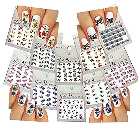 Nail Art Water Slide Tattoo Decals ??Blossom Flowers, Bows, Butterflies, Black Lace & More ??For Smoking Hot Nail Art by La Demoiselle