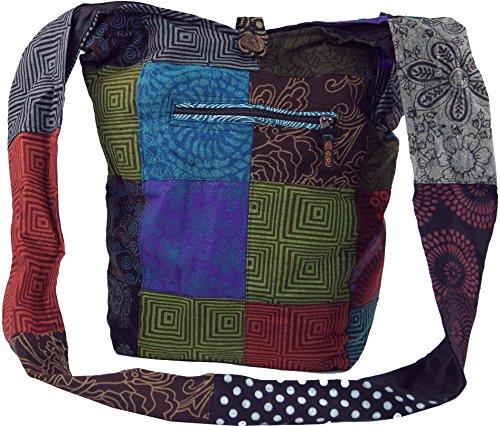 Guru-Shop Sadhu Bag, Schulterbeutel Patchwork, Nepalbeutel, Goatasche, Herren/Damen, Mehrfarbig, Baumwolle, Size:One Size, 40x35x14 cm, Bunter Stoffbeutel (Patchwork-tasche)