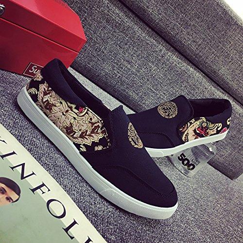 Gaorui Unisex-Erwachsene Classic Slip-On Sneakers Slipper Canvas Schuhe Drucken Muster Blau
