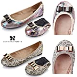 Butterfly Twists Chloe - Folding Ballerina Pumps - Silver Leopard Snake, Stone Snake Iridescent UK4 - Eu37 - Us6 - Au5 Stein