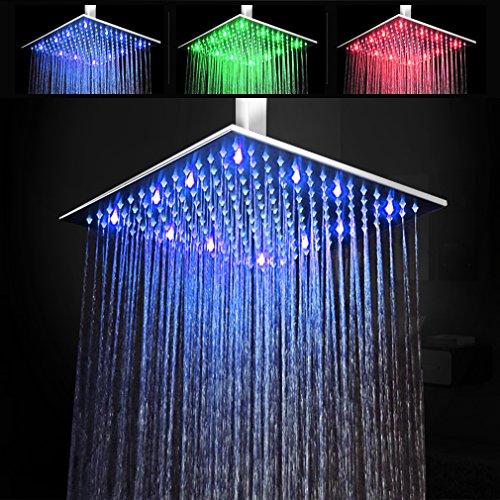 30*30cm Luxus RGB Einbau-Duschkopf Regendusche Deckenbrause Quadrat Überkopfbrause superflach Farbewelchseln nach Temperatur von STEO