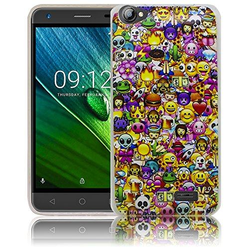 thematys Passend für Acer Liquid Z6E Emoji Smiley Silikon Schutz-Hülle weiche Tasche Cover Case Bumper Etui Flip Smartphone Handy Backcover Schutzhülle Handyhülle