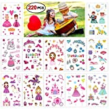Konsait Prinzessin Tattoos - 220 Einhorn Schloss Königin Temporäre Tattoos Sticker Aufkleber für Mädchen Kinder Give Aways Kindergeburtstag Gastgeschenke Mitgebsel