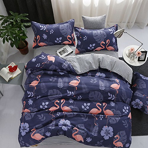 Bettwäsche Set 4 Stück Flamingo Muster Polyester-Baumwolle Bettbezug-Set Einzelbett Doppelbett King Size (Flamingo Europäischen Stil, 150 x 200 cm)