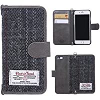"iPhone 6/6s/7 Flip Case MONOJOY Purse Card Cover Harris Tweed Wool Surface Fabric and Synthetic Suede Leather Folio Book Cover with Card Business Office Commercial Slot Magnetic Clasp Handmade Retro (iPhone 6/6S ( 4.7"" ), Grey)"