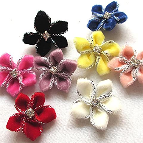 Juqian Velvet Ribbon Flowers Bows Rhinestone Appliques Wedding Decoration
