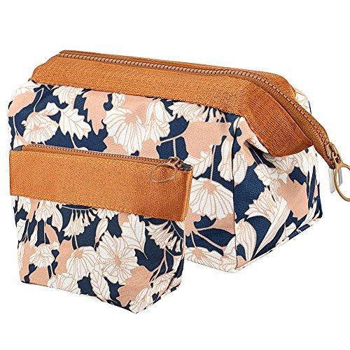 Vamei Make-up Taschen Kosmetiktasche Reise Kosmetiktasche Frauen Portable Make Up Pouch Pack von 2 (Kaffee Blume) - Niedlich Klein Kosmetiktasche
