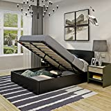 5FT King Size Gas Lift Up Ottoman Storage Bed Frame Bedstead With Faux Leather Headboard For Bedroom Furniture (Black)