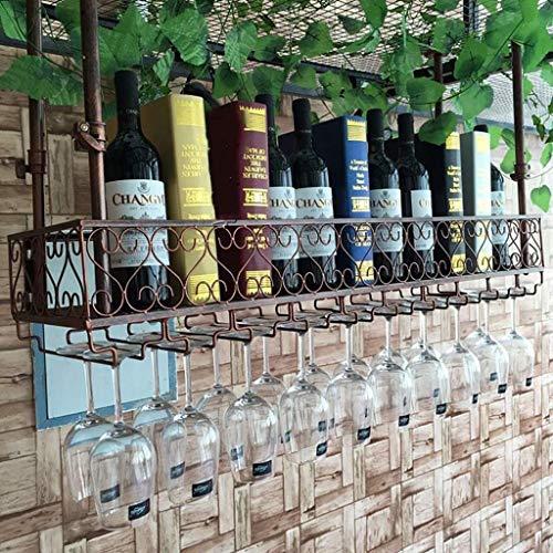 GCM Glass Küchen-Suspendierungs-Weinregal-Schmiedeeisen-umgedrehte hängende Becher-Gestell-Regale Rotwein-Lagerung für Haus, Weinkeller, Bar, Weinshow (Color : Bronze, Size : 100 * 25cm)