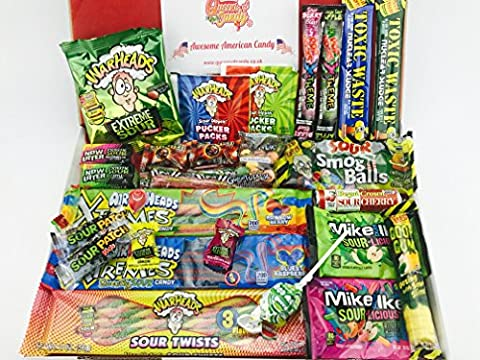 American Super Sour Sweet Hamper - Packed full of eye watering sour candy, including toxic waste, warheads, Mike and Ike,and Airheads, NL312