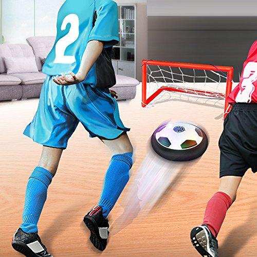 Waitiee Kids Hover Ball Spiel Spielzeug mit leistungsstarken LED Light and Music Air Power Soccer Disc Glide Base Ball Game Christmas Gift für Kinder Indoor & Outdoor friends Spiel-Schwarz (Soccer Gate Set)