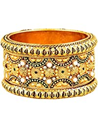 Zeneme Antique Style Gold Plated Kada/ Bangle Jewellery For Women / Girls