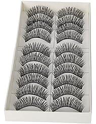 TOOGOO(R) 10 Pairs Black Long Thick Soft Reusable False Eyelashes Fake Eye Lash for Makeup Cosmetic