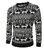 MISSMAO Herren Weihnachtspullover Langärmelige Pullover Tops mit Rentier-Muster für Weihnachten Schwarz XS