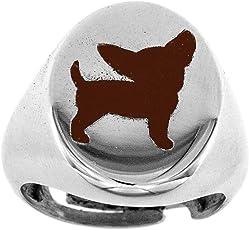 Broky & Co–Ring Pink Oval mit eingraviertem Chihuahua und Emaille Braun aus 925Sterling Silber rhodiniert Verstellbar ab 48