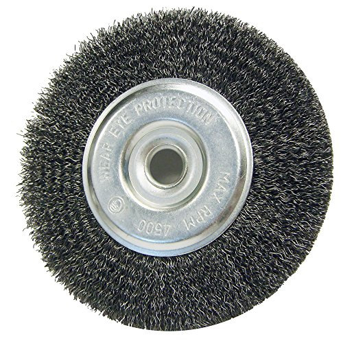 "Mercer Industries 183030B Crimped Wire Wheel, 6"" x 1/2"" x 2"" (1/2"", 5/8""), for Bench/Pedestal Grinders"