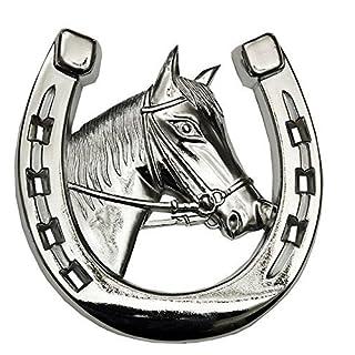 Autohufeisen with Horse Head / Autozierhufeisen / Decoration / Car Decoration / Kühlerfigur Horseshoe / Horse Car Grilldekorierung Chrome