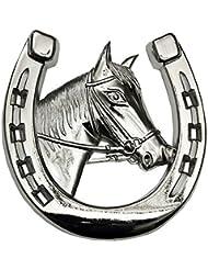 Autohufeisen avec tête de cheval/autozierhufeisen/autodeko/décorer la voiture lors d'un enjoliveur/cheval et fer chromé/grilldekorierung auto