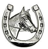 Autohufeisen mit Pferdekopf | Autozierhufeisen | Autodeko | Autodekoration | Kühlerfigur | Pferd Hufeisen Chrom | Auto Grilldekorierung