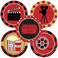 Movie Night Sticker Labels - Cinema Theater Party Supplies Decoration - Set of 50