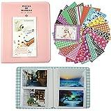 Alohallo 64 bolsillos del álbum de foto / 20 Psc pegatinas para Fujifilm Polaroid instantánea película de la foto y tarjeta de nombre - rosa